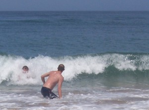 body surfing at Chintsa West beach