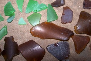 green and brown sea glass