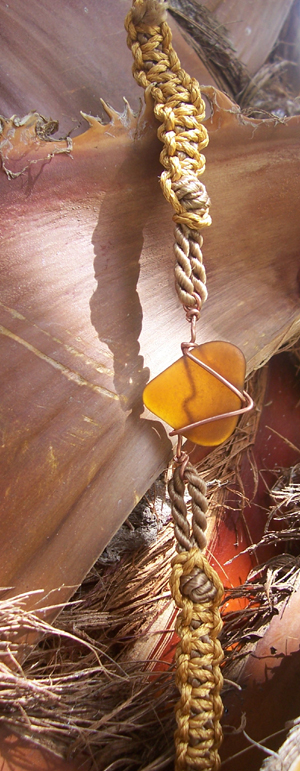 honey amber sea glass on macrame friendship bracelet
