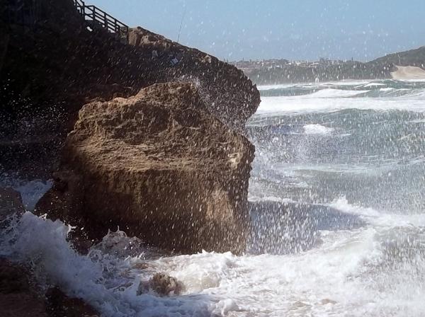 ocean splashing at Mermaids Pool in East London South Africa