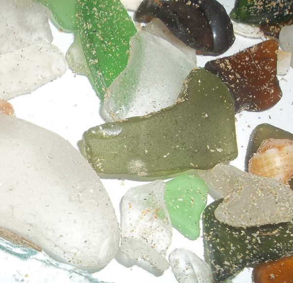 sea glass still sandy from the beach