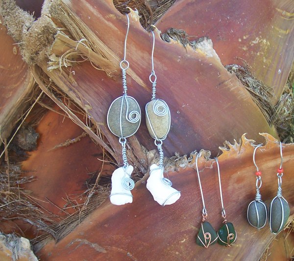 three pairs of beach craft earrings