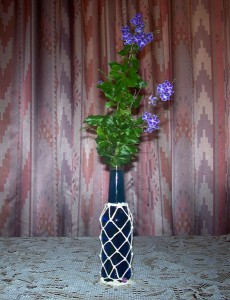 bottle vase with macrame net effect
