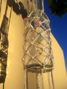 macrame net bottle windchime