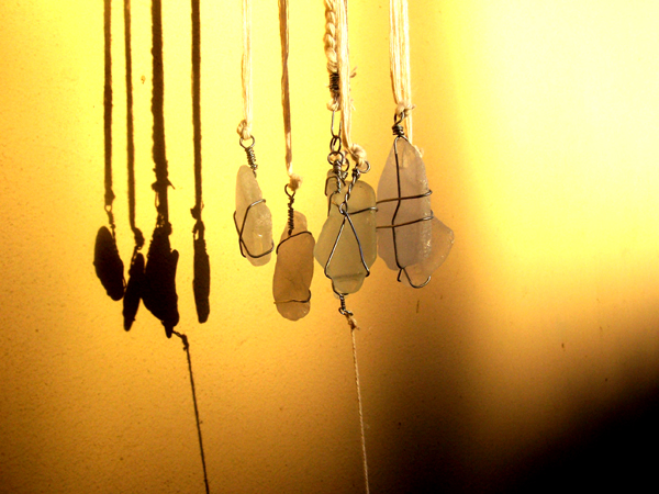 pieces of sea glass wind chime