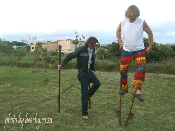 boys will be boys on stilts
