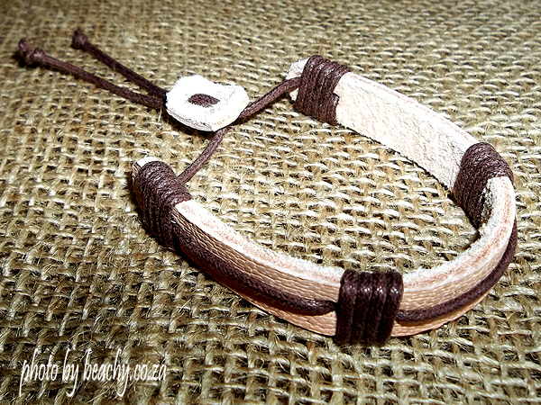light leather bracelet with brown waxed cord