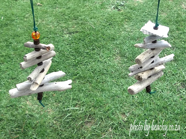 mini driftwood Christmas trees as Christmas tree ornaments
