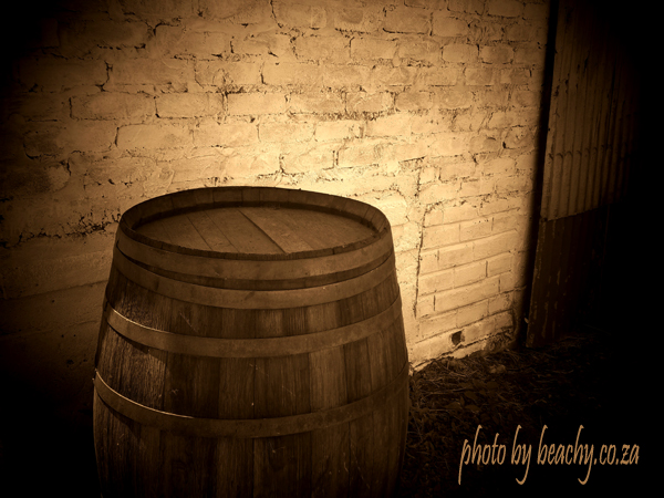sepia photo barrel at the Blue Barn