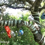 teapots in the trees at Tea in the Trees