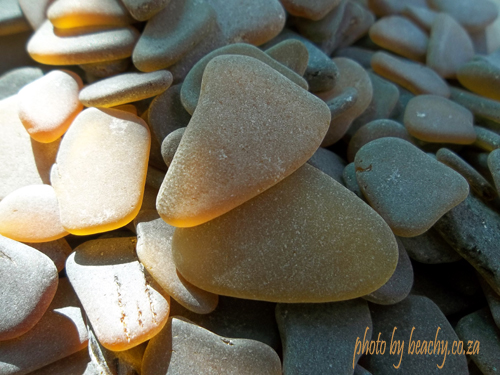 sunlit brown and honey amber sea glass pieces