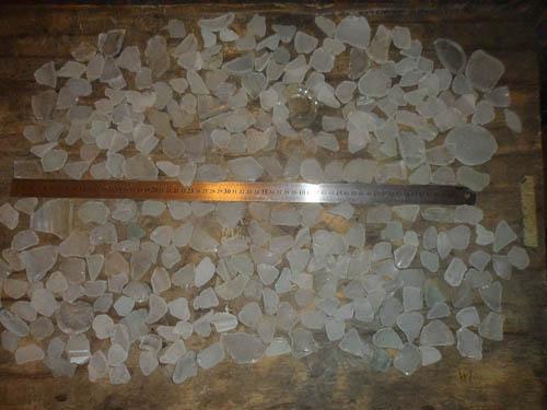 white sea glass to make a chandelier