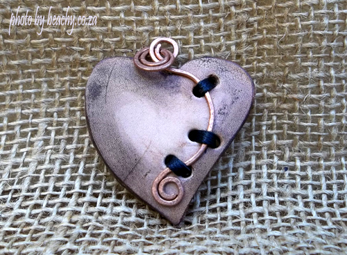 leather heart necklace pendant with copper wire