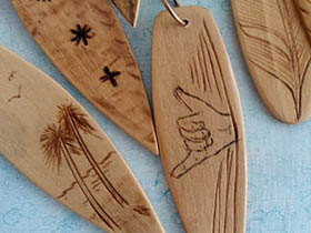 cool wooden surfboard necklaces