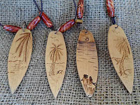 handmade wooden surfboard necklaces
