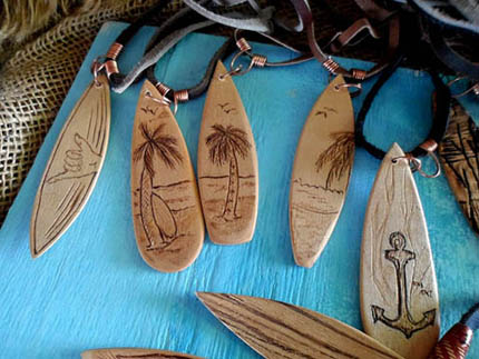 order wooden surfboard necklaces in South Africa