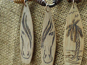 wood surfboard necklaces with horse face
