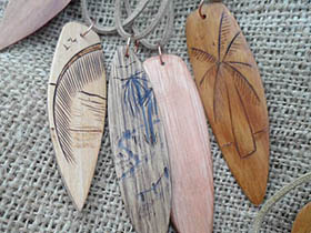 wood surfboard necklaces with palm trees