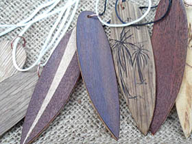 wood surfboard necklaces