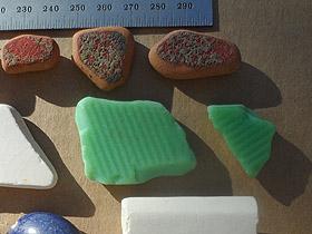 beach pottery lot 030719B - milky green sea glass