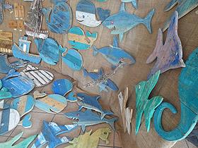 wood fish sharks whales tugboats seahorses
