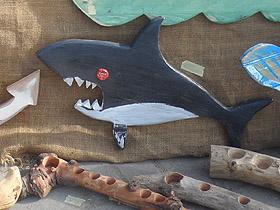 wooden shark wall hanging