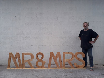 Mr and Mrs wood wedding sign