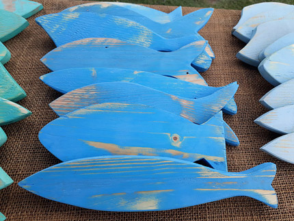 blue wood fish wall decor