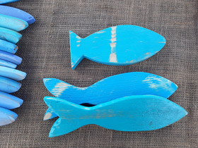 blue wooden decor fish