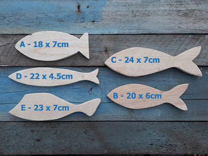 plain wooden decor fish sizes