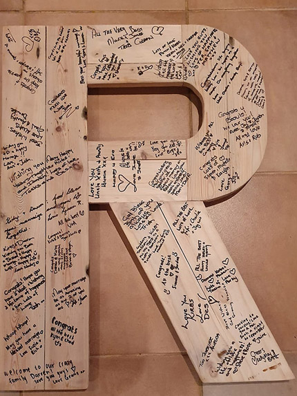 wedding guest book wood letter