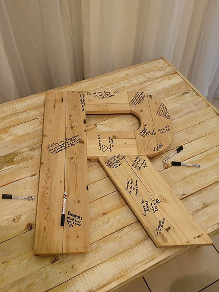 wedding guest book wooden letter