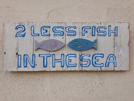 2 less fish in the sea wooden sign