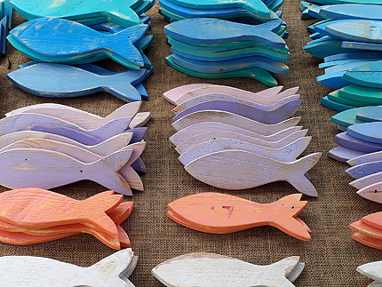 painted wooden decor fish