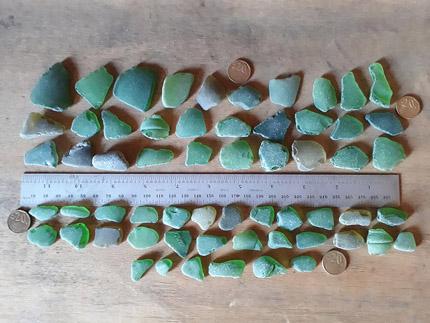 LOT 140520A 60 green sea glass pieces