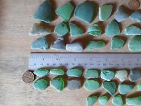 LOT 140520A green sea glass